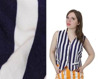Striped blouse, Striped shirt, Navy blue shirt, White shirt, Sleeveless shirt, Summer top, Vintage striped top , Sailors shirt /Small Medium