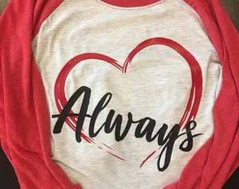 Love Always soft 3/4 sleeve raglan heathered white/vintage red