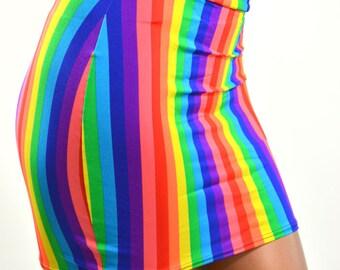 "Rainbow Stripe Stretchy Bodycon Mini Skirt 16"" Length Rave EDM Clubwear -E7448"