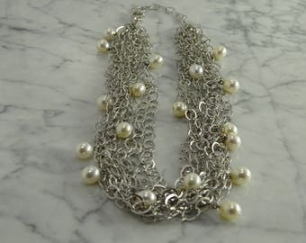 """Sterling Silver / Pearl Multi Strand Necklace (Adj 16"""" to 19"""")"""