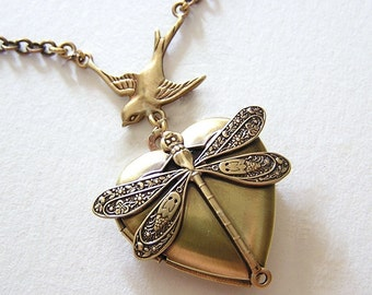 DRAGONFLY Locket, Necklace Pendant