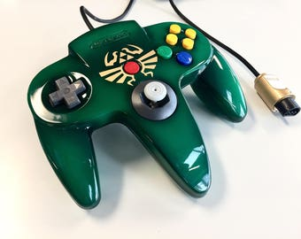 Custom Painted Legend of Zelda Ocarina of Time Triforce Authentic Brand Nintendo 64 Controller (Green)