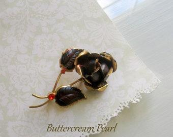 Vintage Rose Brooch, Brooch Bouquet, Wedding Gift Brooch, Fall Wedding, Enamel Rose Brooch, Scarf Brooch, Flower Brooch, Orange Rhinestones