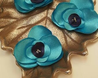 Blue orchid, blue wedding, wedding flowers, fabric flowers, blue satin flowers, sew on flowers, embellishments, flowers for weddings.