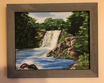 Forest Waterfall - Original Acrylic Artwork 11x14