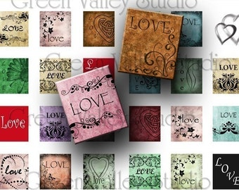 INSTANT DOWNLOAD Digital Art LOVE hearts words Digital Images Collage Sheet for Scrabble Tile Pendants .75 x .875 (S17)