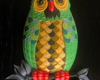 Green Owl - hand painted found object wall art