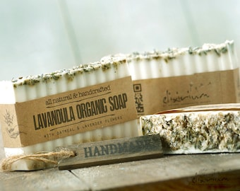 Lavandula ORGANIC SOAP • Lavender Oatmeal Organic Bar Soap, Vegan Soap, Natural Soap, Handmade Soap, Organic Skin Care, Rustic soap, soap