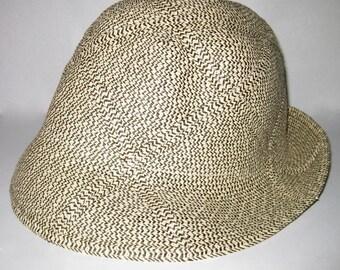 Ladies Chevron Tweed Look Vintage FEDORA HAT, Brown Tan Herringbone SALE