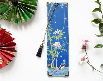 Gifts for book lovers, Luxury waterproof Bookmark, page marker, Blue chinoiserie, literary gift, book lover gift.