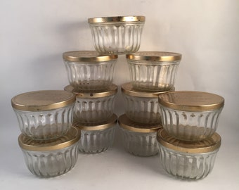 Set of 11 Vintage Kerr Jelly Glass Jars with Gold Tone Aluminum Lids 8 oz. Kerr Imprint on Bottom, Use for Canning, Candles, Gifting Goods