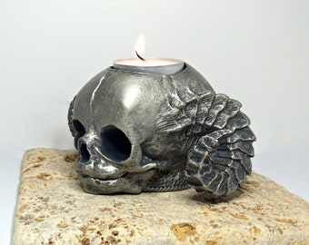 Satyr Fetal Skull Tealight Holder, pewter finish
