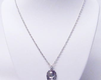 Oval Silver Plated Charm w/Boy Face Silhouette Necklace