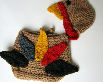 PDF PATTERN CROCHET November Baby Turkey diaper cover and Gobble Hat