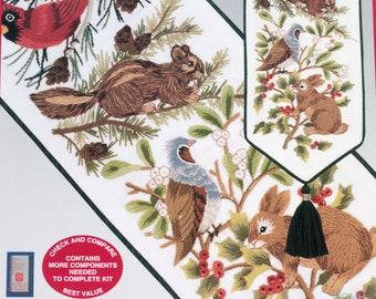 WINTER WILDLIFE BELLPULL Crewel Embroidery Kit Cardinal Chipmunk Rabbit Pine Holly