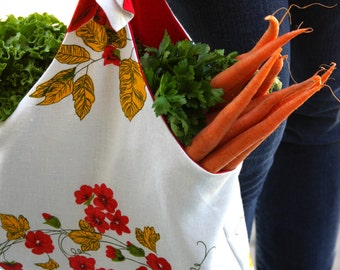 Fruits and Flowers Farmers Market Bag - Market Bag - Linen Farmers Market Bag