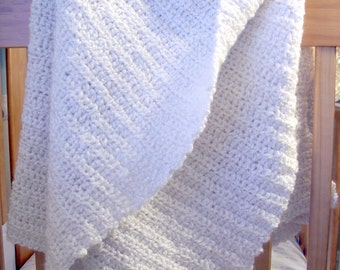 BLANKET SALE Hand Crocheted Baby Blanket Warm White Classic Christening Photo Prop Afghan 36 x 42 By Distinctly Daisy