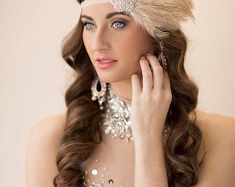 Great gatsby headpiece, Silver 1920s flapper headband, Gatsby dress. Gatsby headpiece, Daisy Buchanan costume, Beige Feather Fascinator