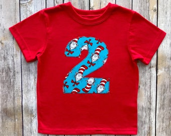 Boys Cat In The Hat 2nd Birthday Shirt 2T