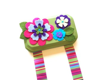 Hair Clip Holder - Pink Purple and Olive - Hair Clip Organizer