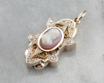 Victorian Era Cameo, Antique Slide Pendant, Victorian Necklace, Estate Jewelry 84JX5359-D