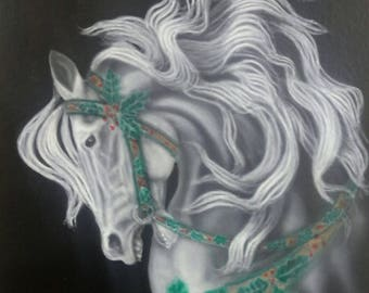 Carousel Holiday Horse Original painting