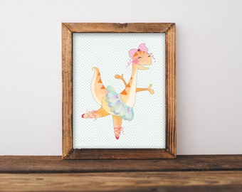 Ballerina Dinosaur Nursery Wall Art Printable, Girl Ballet Bedroom Decor, Pink Dino, Dinosaur in Tutu, Dancing Dino, Instant Download