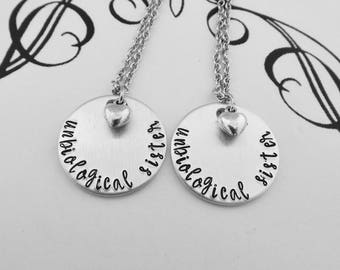 Best Friend Necklaces for 2 - unbiological sister - Set of 2 Hand Stamped Necklaces - Bridesmaid Gift - Friendship Jewelry - kg8565