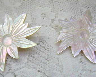 Large Vintage Mother of Pearl Shell Flower Earrings...Iridescent MOP Post Back Earrings...Large Shell Earrings...Floral Earrings