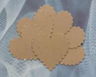 100 wedding tags scalloped heart tags wedding favors gift tags rustic tags kraft tags price tags gift tags blank tags fancy large hearts