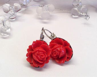 Silver-plated earrings red roses