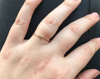 Dainty 14k gold filled hammered arrow ring