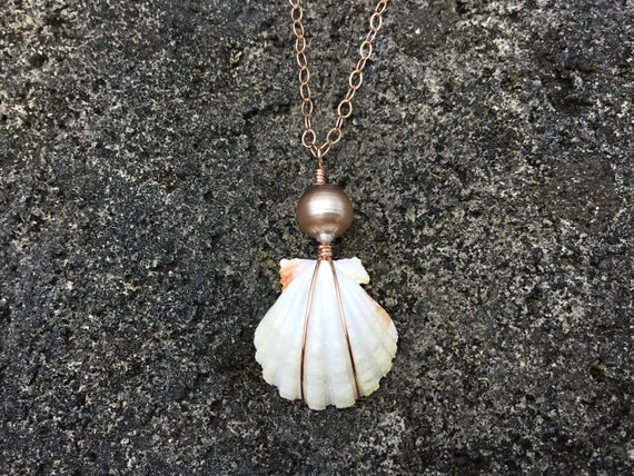 RARE ALBINO Hawaiian Sunrise Shell, Cotton Candy, Tahitian Pearl, 14k Rose Gold Filled Wire Wrapped, Chain Necklace