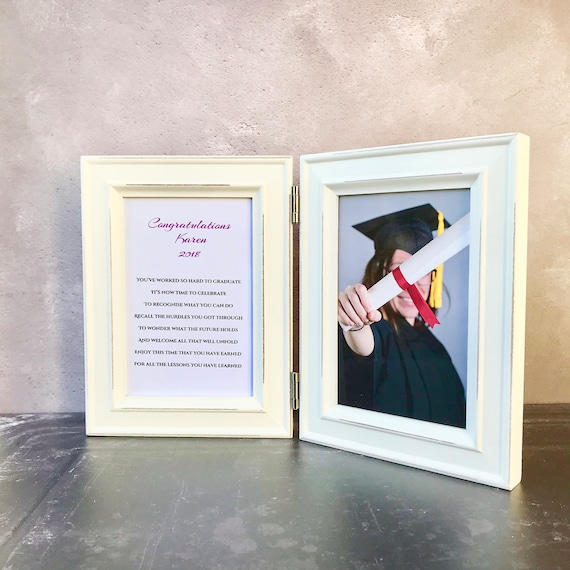 Graduation gift in double hinged frame