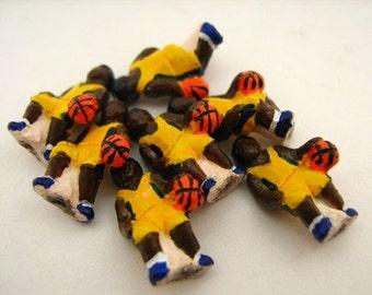 20 Tiny Basketball Player Beads