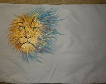 Lion Personalised Pillowcase. Any  animal (Handpainted)