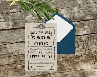 Save the date rubber stamp rustic vintage layout DIY Save the date cards with a rubber stamp --13038-CB29-000
