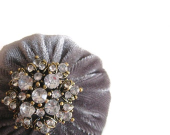 """2"""" Gray Velvet Pincushion Filled With Abrasive Emery Mineral To Keep Your Needles Clean & Sharp"""
