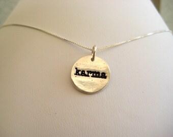 Fine Silver Karma Necklace, Karma Jewelry, Happy Karma Necklace