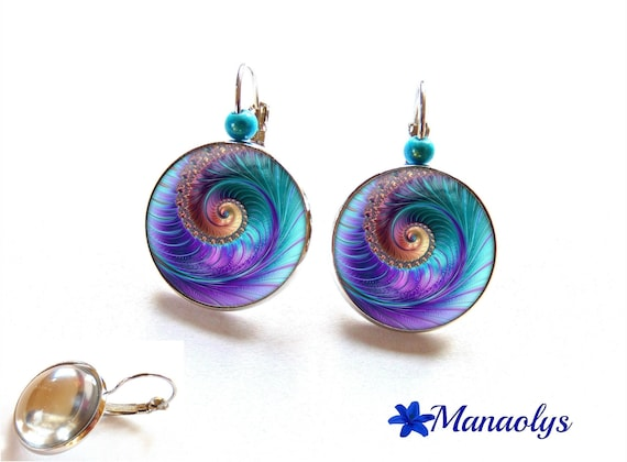 Earrings sleepers swirls, fractal, 3113 glass cabochons