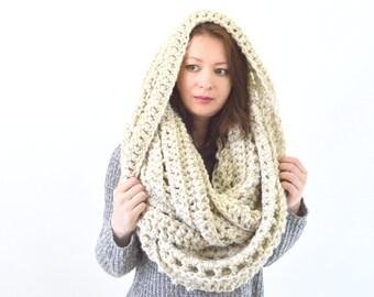 Oversized Knit Crochet Chunky Woman Men Infinity Scarf Hood | The Prague