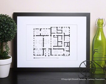 Downton Abbey - TV Show Floor Plan for Home of the Crawley's - Ground Level Dining, Library, Salon, etc. - Blackline Print