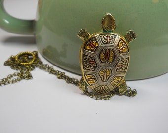 Damascene Turtle LOCKET Secret Compartment Necklace Keepsake Gift Nature Animal Locket Hidden Locket Sea Turtle Tortoise Made in Spain