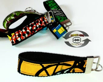 African Prints key fob , key holder , key wristlet , key chain , House keys. Ankara Prints. For Security officers, Car sellers. Afro Style