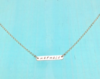 Mermaid Necklace, 14kgf & sterling silver bar jewelry