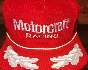 Vintage Motorcraft Racing red corduroy snapback hat