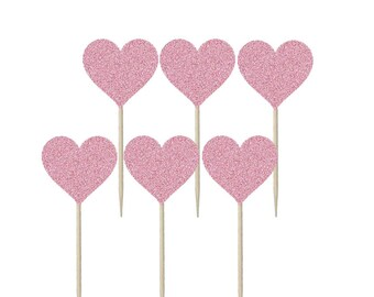 Heart Shaped Cupcake Topper, Cake Topper, Cake Decoration