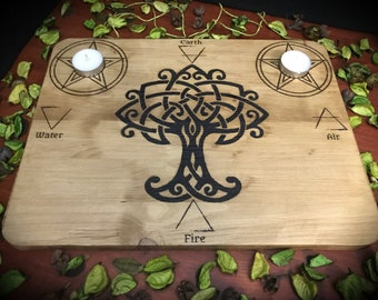 Pyrographed altar base - occult paganism wicca magic witchcraft witch Pentacle God Goddess pagan symbolism paganism spell Tree of life