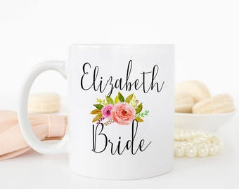 Engagement Gift for Bride to be, Floral Pink Custom Bride Mug, Bridal Shower Mug Gift, Matching Bridesmaid Mugs, Bride Mug,  AAA_002a