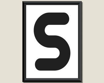 Typography Digital Print Monogram Initial Wall Art Zarista Letter S